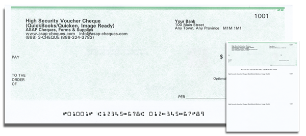 Business Voucher Computer Cheque (cheque on top) - Green Security Design