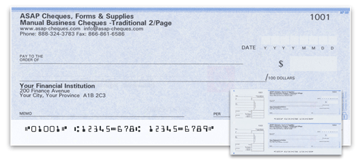 Manual Business 2/Page Cheques - Blue Security Design